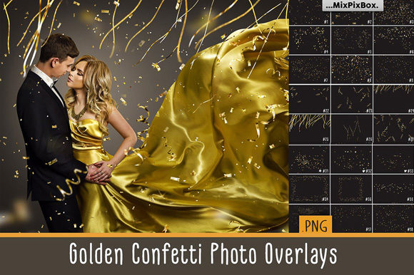 Print on Demand: Golden Confetti Photo Overlays Graphic Layer Styles By MixPixBox