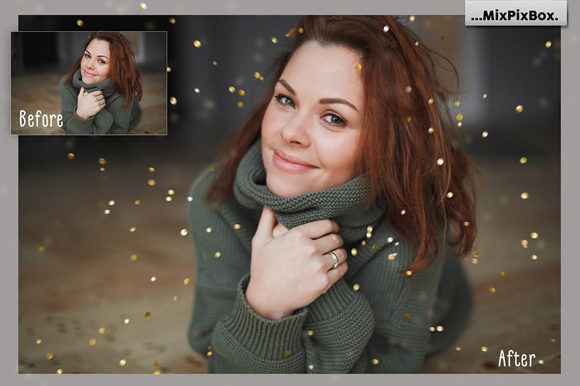 Print on Demand: Golden Confetti Photo Overlays Graphic Layer Styles By MixPixBox - Image 9
