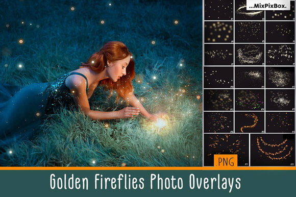 Print on Demand: Golden Fireflies Photo Overlays Graphic Layer Styles By MixPixBox