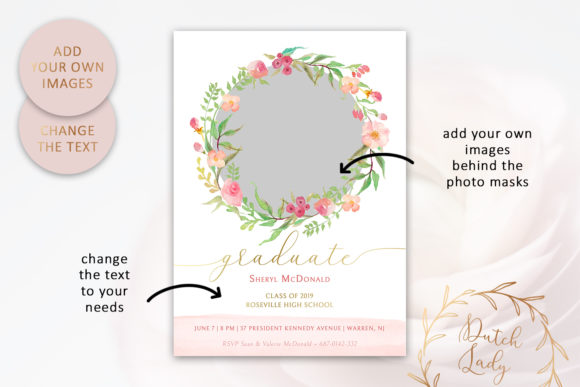 Download Free Graduation Announcement Card Template Design 6 Graphic By for Cricut Explore, Silhouette and other cutting machines.