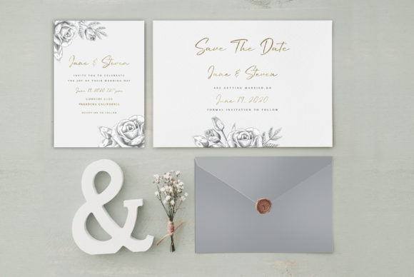 Print on Demand: Grey Gold Wedding Invitation Graphic Graphic Templates By Creative Paper
