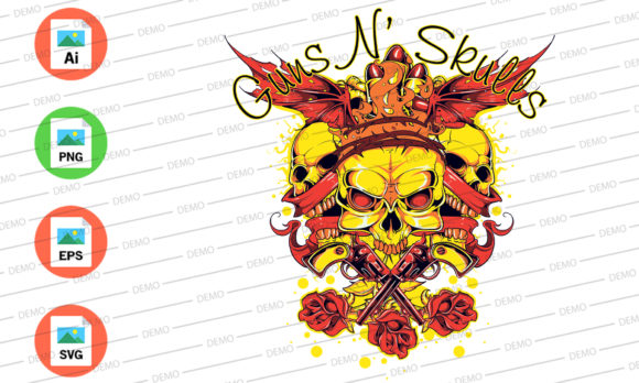 Guns and Skulls Graphic Illustrations By Skull and Rose - Image 2