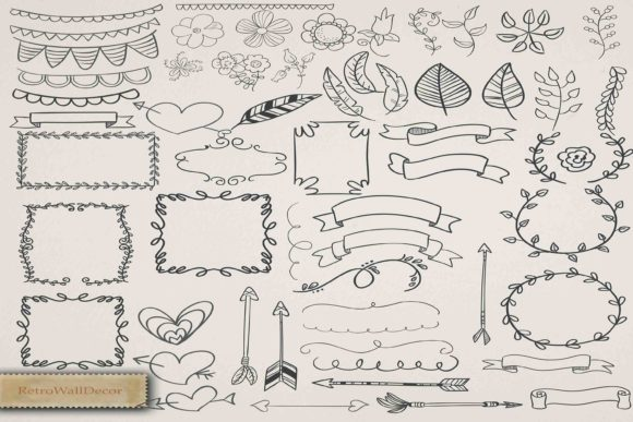 Print on Demand: Hand Draw Clipart Graphic Objects By retrowalldecor