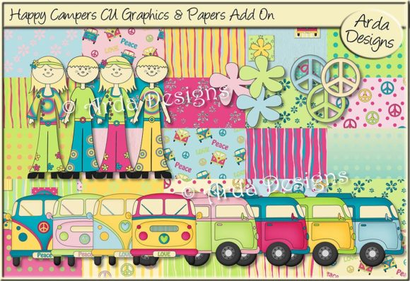 Print on Demand: Happy Campers CU Graphics & Papers Graphic Illustrations By Arda Designs