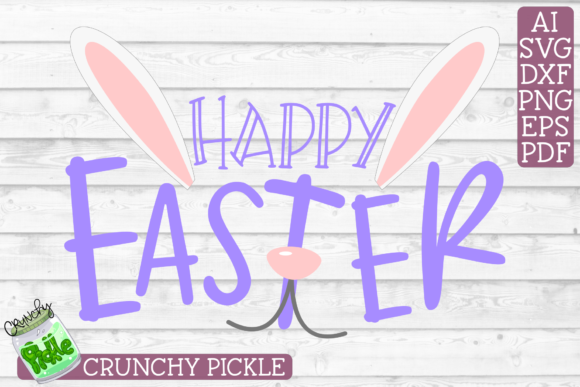 Download Free Happy Easter Bunny Face Phrase Graphic By Crunchy Pickle for Cricut Explore, Silhouette and other cutting machines.