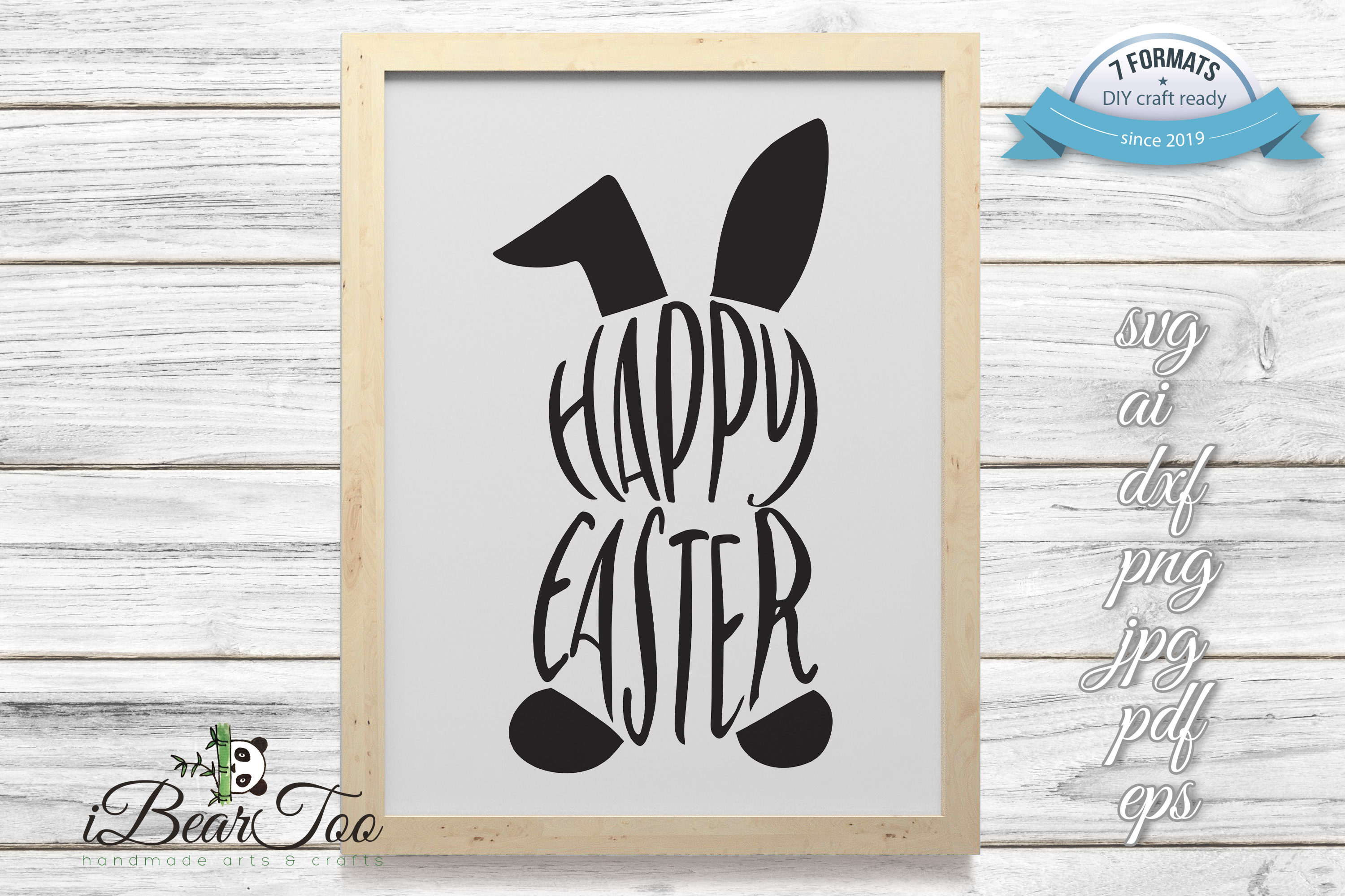 Download Free Happy Easter Bunny Graphic By Ibeartoo Creative Fabrica for Cricut Explore, Silhouette and other cutting machines.