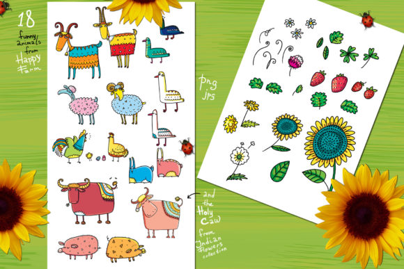 Print on Demand: Happy Farm - Animals and Flowers Graphic Objects By Zooza Art - Image 2