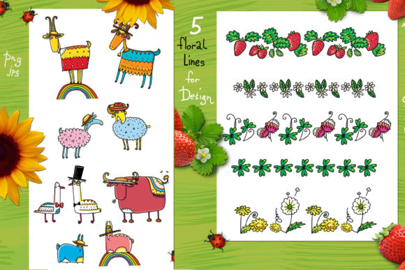 Print on Demand: Happy Farm - Animals and Flowers Graphic Objects By Zooza Art - Image 3