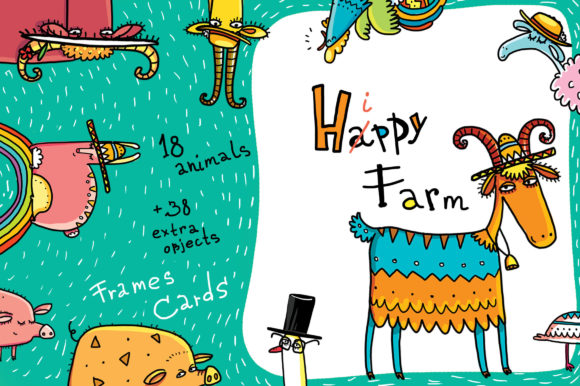 Print on Demand: Happy Farm - Animals and Flowers Graphic Objects By Zooza Art