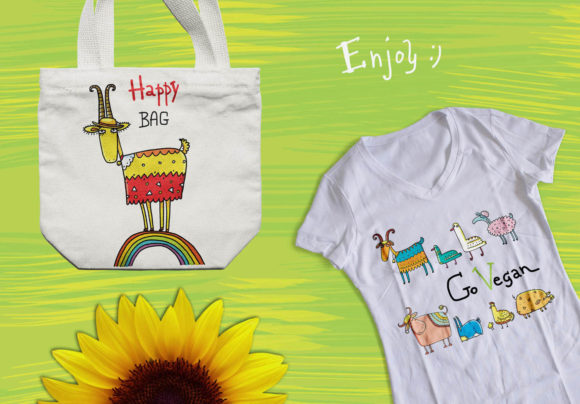 Print on Demand: Happy Farm - Animals and Flowers Graphic Objects By Zooza Art - Image 9