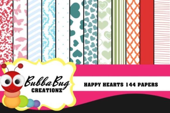 Happy Hearts Pattern Set Graphic Patterns By BUBBABUG