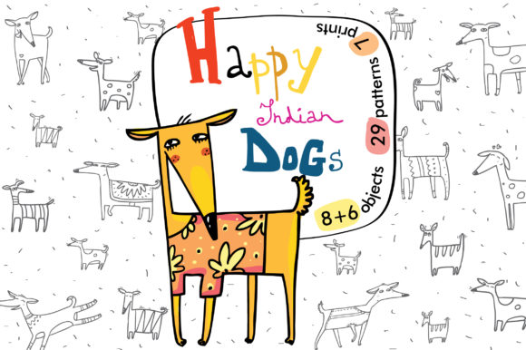 Print on Demand: Happy Indian Dogs: Patterns, Prints Gráfico Ilustraciones Por Zooza Art