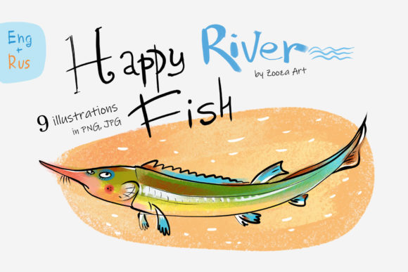 Print on Demand: Happy River Fish 9 Illustrations Graphic Illustrations By Zooza Art