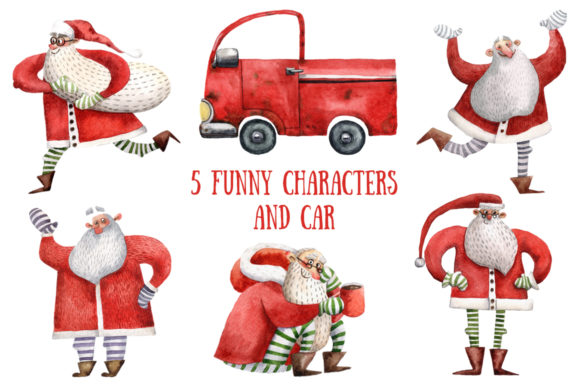 Download Free Happy Santa Watercolor Clip Art Set Graphic By Mashamashastu for Cricut Explore, Silhouette and other cutting machines.
