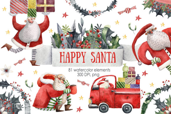 Happy Santa - Watercolor Clip Art Set Grafik Illustrationen von mashamashastu