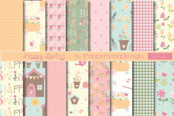 Print on Demand: Happy Spring Papers Graphic Patterns By poppymoondesign