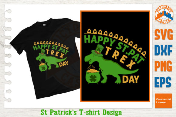 Download Free Happy St Pat T Rex Day T Shirt Design Graphic By Graphicza for Cricut Explore, Silhouette and other cutting machines.