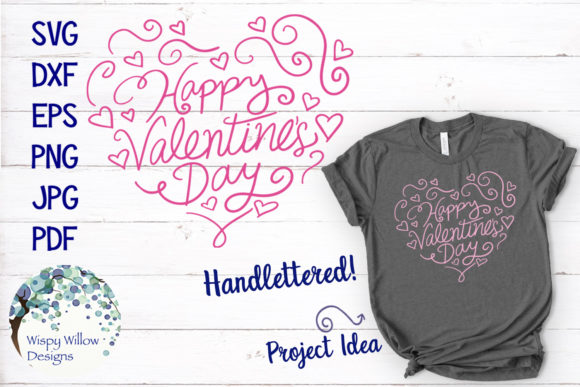Download Free Happy Valentine S Day Heart Svg Graphic By Wispywillowdesigns for Cricut Explore, Silhouette and other cutting machines.