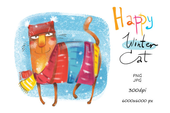 Happy Winter Cat Graphic By Zooza Art