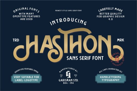 Print on Demand: Hasthon Sans Serif Font By Garisman Studio - Image 1