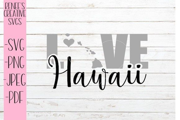 Download Free Hawaii Love Graphic By Reneescreativesvgs Creative Fabrica for Cricut Explore, Silhouette and other cutting machines.