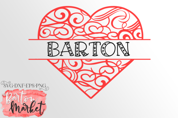 Heart Split Monogram SVG Graphic Crafts By Barton Market