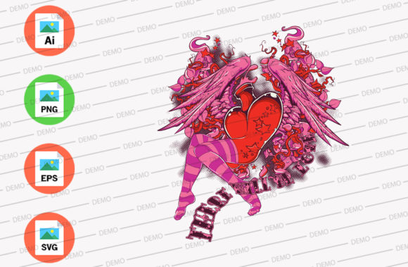 Heart of Lady Graphic Illustrations By Skull and Rose