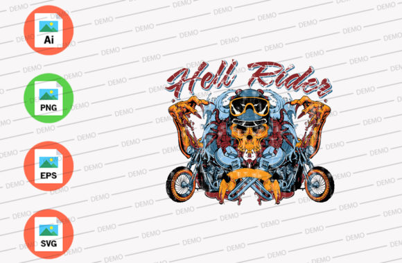Hell Rider Graphic Illustrations By Skull and Rose