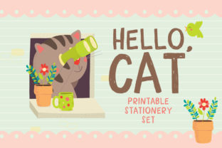 Hello Cat Stationery Graphic By Reg Silva Art Shop