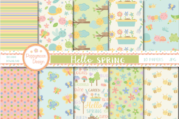 Print on Demand: Hello Spring Paper Graphic Patterns By poppymoondesign