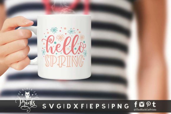 Download Free Hello Spring Svg Graphic By Theblackcatprints Creative Fabrica for Cricut Explore, Silhouette and other cutting machines.