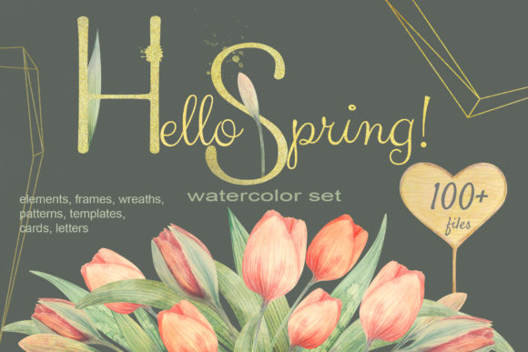 Download Free Hello Spring Watercolor Tulip Set Graphic By Natalia Arkusha for Cricut Explore, Silhouette and other cutting machines.