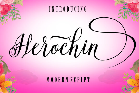 Print on Demand: Herochin Script & Handwritten Font By ayeelastudio