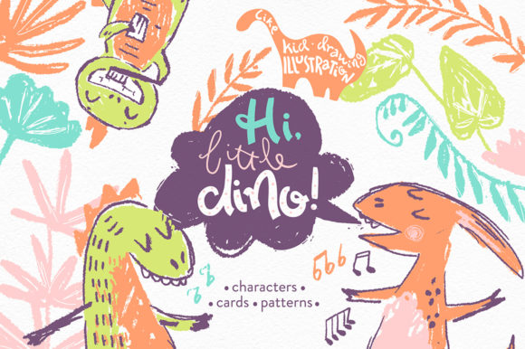 Print on Demand: Hi, Little DINO! Graphic Kit Graphic Illustrations By dinkoobraz