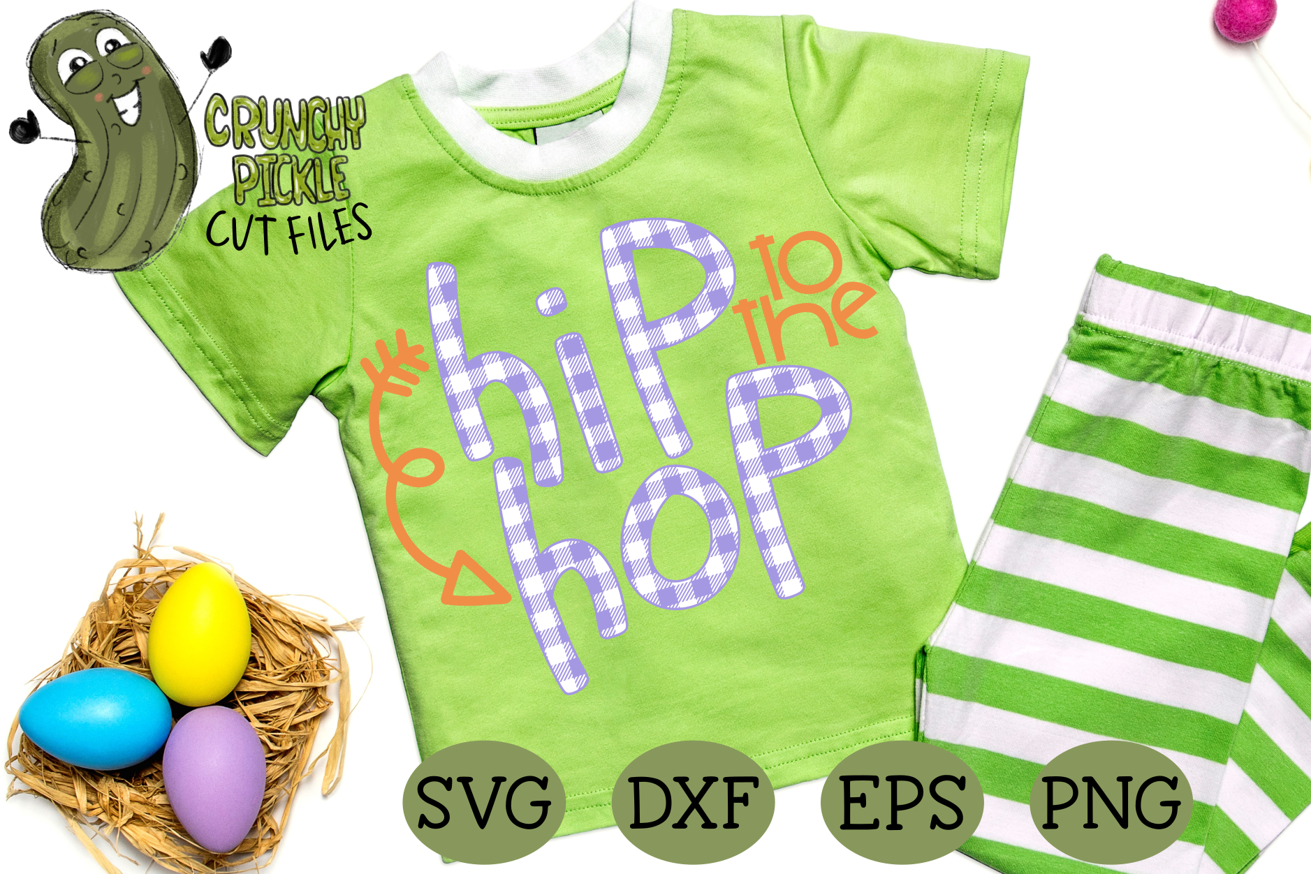 Download Free Hip To The Hop Buffalo Plaid Easter Phrase Graphic By Crunchy for Cricut Explore, Silhouette and other cutting machines.