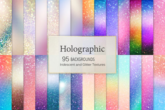 Holographic Backgrounds + Iridescent Glitter Textures