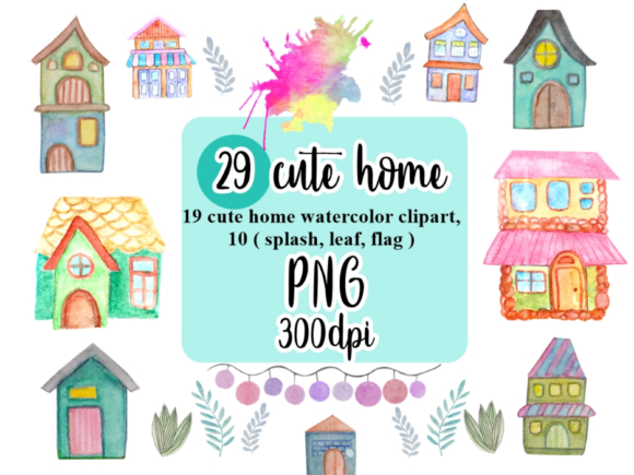 Home Watercolor Clipart Graphic Illustrations By greentosca.std