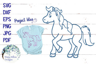 Horse Outline SVG Graphic By WispyWillowDesigns