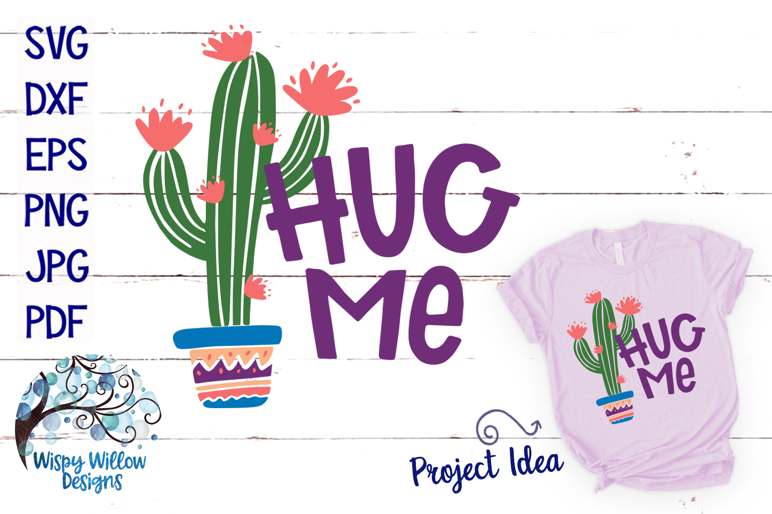 Download Free Hug Me Cactus Svg Graphic By Wispywillowdesigns Creative Fabrica for Cricut Explore, Silhouette and other cutting machines.