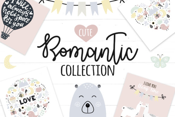Huge Romantic Cute Clipart Graphic By switzershop