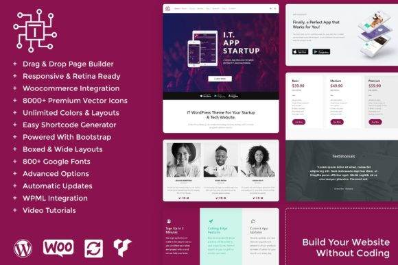 IT - Tech & Startups WordPress Theme Graphic WordPress By Visualmodo WordPress Themes - Image 1