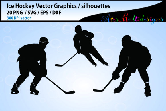 Print on Demand: Ice Hockey Svg Silhouette Bundle Graphic Illustrations By Arcs Multidesigns - Image 3