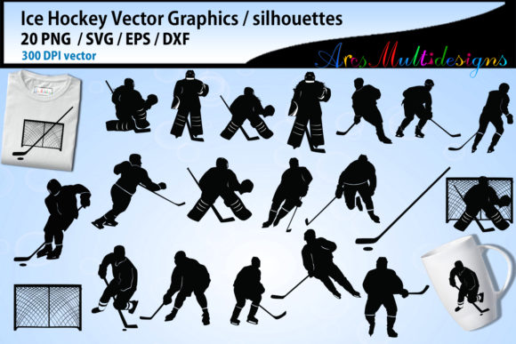 Print on Demand: Ice Hockey Svg Silhouette Bundle Graphic Illustrations By Arcs Multidesigns