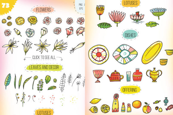 Print on Demand: Indian Flowers Bundle Graphic Crafts By Zooza Art - Image 2