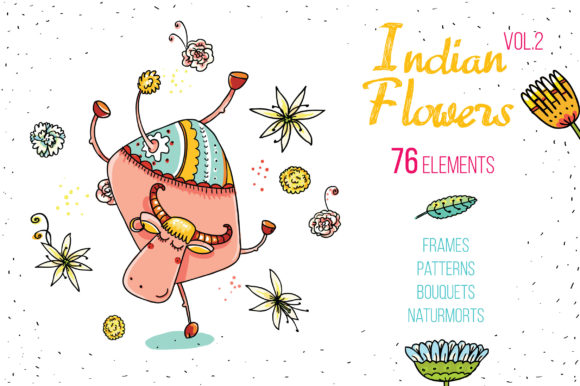 Indian Flowers Bundle Graphic By Zooza Art