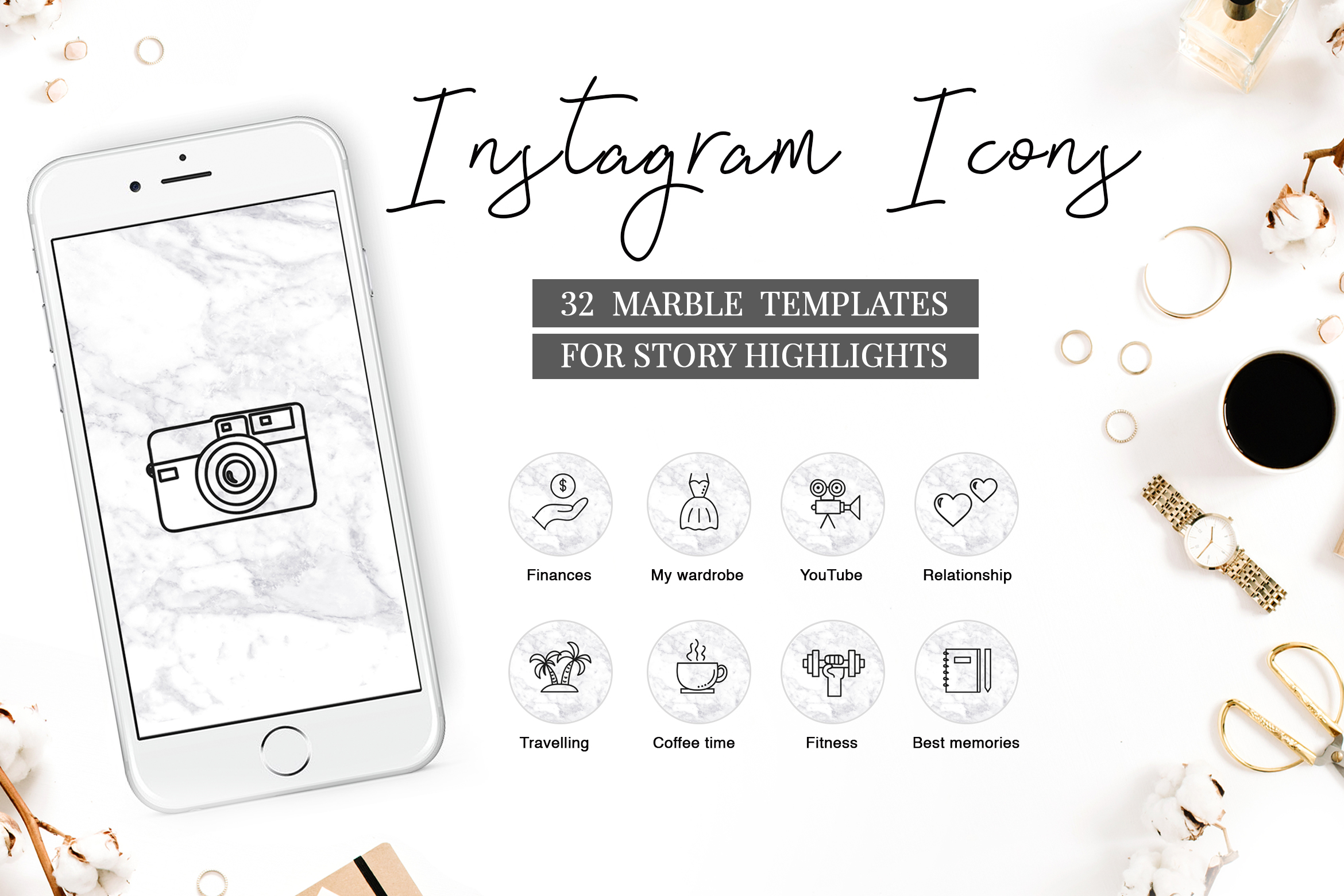 Download Free Instagram Highlight Covers Grafico Por Switzershop Creative for Cricut Explore, Silhouette and other cutting machines.