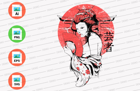 Japanese Girl Graphic Illustrations By Skull and Rose