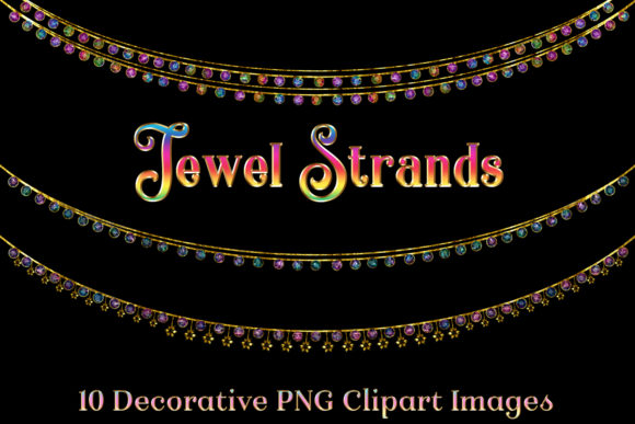 Print on Demand: Jewel Strands Crystal Strings Graphic Objects By SapphireXDesigns