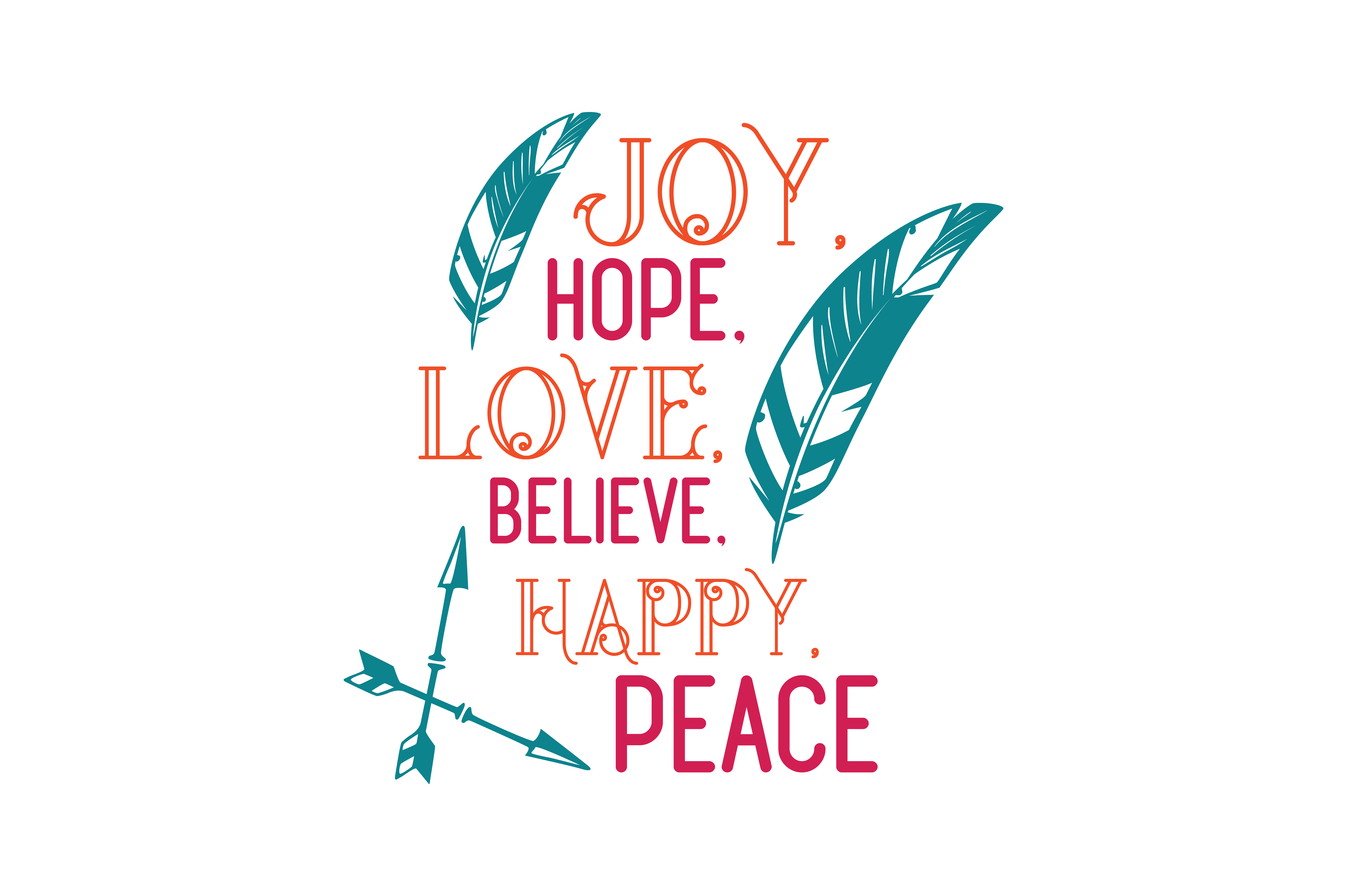 Download Free Joy Hope Love Believe Happy Peace Quote Svg Cut Graphic By for Cricut Explore, Silhouette and other cutting machines.