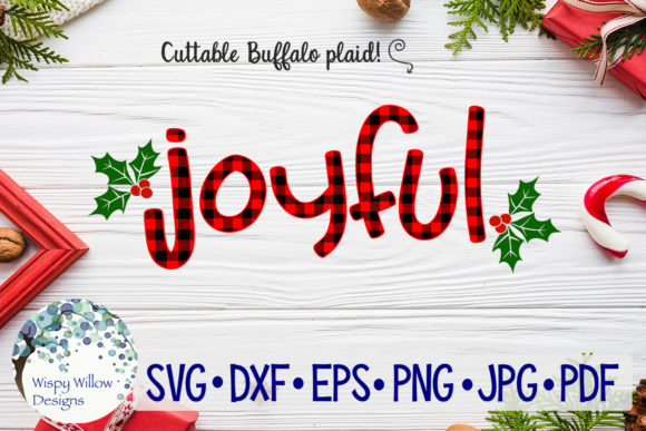 Joyful Buffalo Plaid SVG Graphic By WispyWillowDesigns